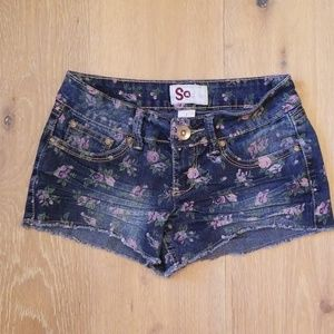 So Jean Shorts with Pink Floral Design